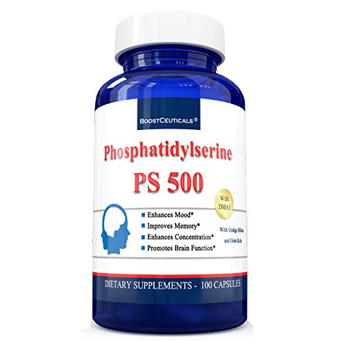 Phosphatidylserine 100 Capsules - Pure Phosphatiylserine 500mg Complex - Ideal Phosphatidyl Serine 100 mg Brain Supplements by ()