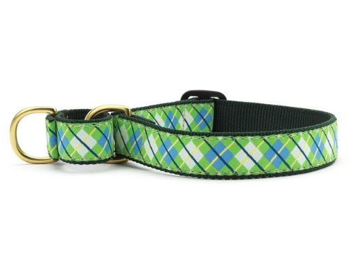 Up Country Blue and Green Argyle Martingale Dog Collar - X-Large (15-25 Inches) - 1 In Width