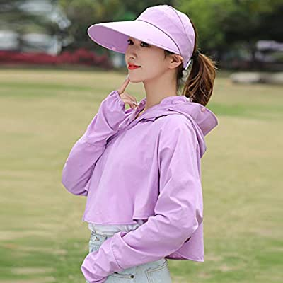 Fine Women's UPF 50+ UV Sun Protective Hooded Coat Long Sleeve T-Shirt Breathable Outdoor Activities Camping Cycling Beach (Purple): Sports & Outdoors