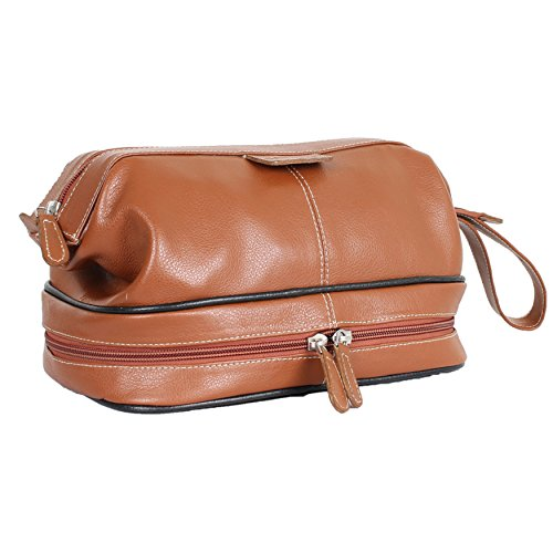 (Carlucci Leather Premier Leather Toiletry Bag with Zip Drop Bottom, Rich Genuine Cowhide, 2 Big Compartments, Heavy Duty Zippers, Pull Handle, Leather Tabs. In Tan )