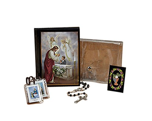 First Communion Gift Set with Mass Book Scapular Rosary Lapel Pin and Wallet, Boy