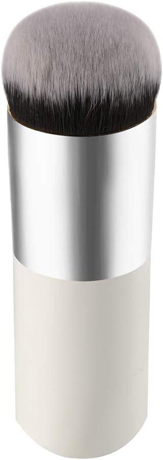 Kanggest Brochas De Maquillaje Profesional Portátil Cepillo Facial de Cabeza Redonda para Liquido Tradicionales y Fluidas Maquillaje Bases/Aplicación y Fundición de Bases de Maquillaje (Plata Blanco)