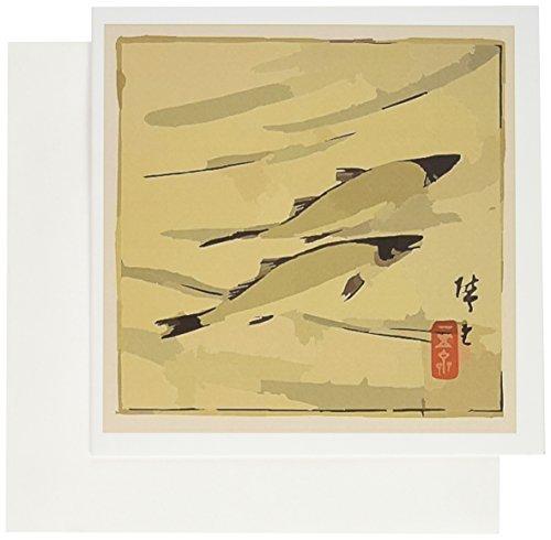 3dRose arte asiático de flores antiguo trucha natación–tarjetas de felicitación, 6x 6inches, Set de 6(gc _...