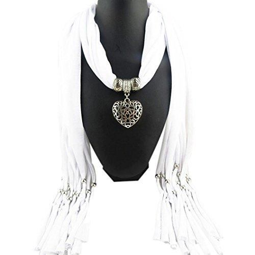 Sunward Womens Elephant Water Drop Owl Heart Pendant Tassel Charm Jewelry Scarf (White Heart) - Heart Owl Pendant