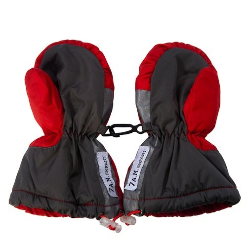 Cuffed Mittens - 7AM Enfant Long Cuffed Mittens, Red/Grey, Large