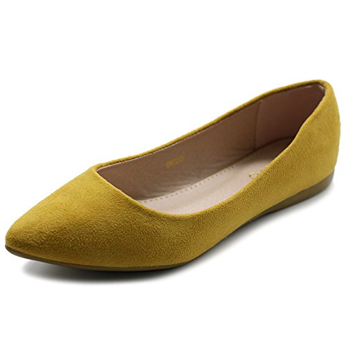Ollio Women's Ballet Comfort Light Faux Suede Multi Color Shoe Flat ZM1038(7.5 B(M) US, Mustard)