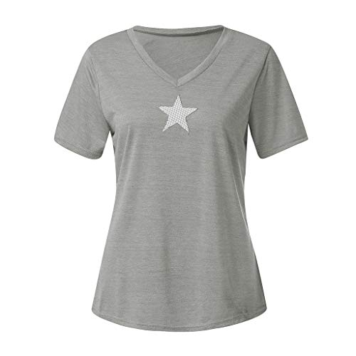 TIFENNY Women's Fashion Star Print V-Neck T-Shirts Summer Soft Cotton Loose Short Sleeve Tops Blouse Shirt Tee Gray