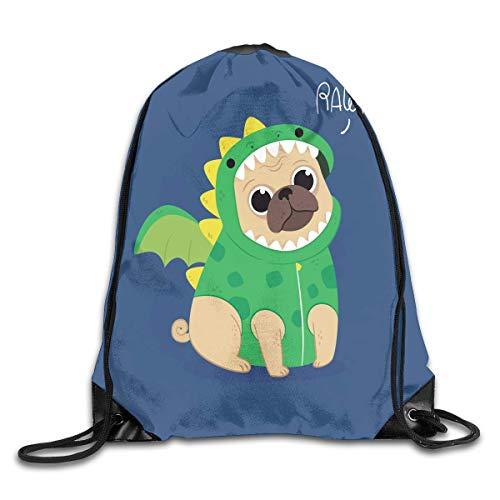 Sunmoonet Drawstring Shoulder Bag Cute Pug With Dragon Costume Bundle Pocket Outdoor Knapsack Sport Gym Backpack ()
