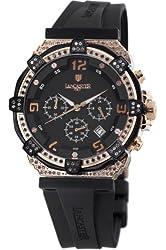 Lancaster Women's OLA0441L/RG/NR/NR Robusto Diamonds Chronograph Black Dial Rubber Watch