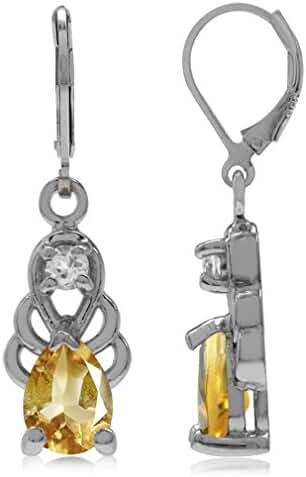 1.14ct. Natural Citrine & White Topaz 925 Sterling Silver Filigree Drop Leverback Dangle Earrings