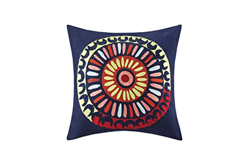Josie by Natori Hollywood Boho Decorative Pillow 20 x 20 Blue - Set includes: 1 Pillow Cover: 100% cotton corduroy with embroidery; Filling: 100% polyester Measurements: 20-by-20-inch Pillow - living-room-soft-furnishings, living-room, decorative-pillows - 41lLtdsQOaL -