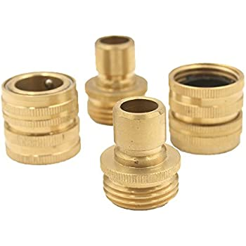 A8001 Pressure Washer Garden Hose Brass Quick Connect Kit 2 Set (2 Male 2  Female