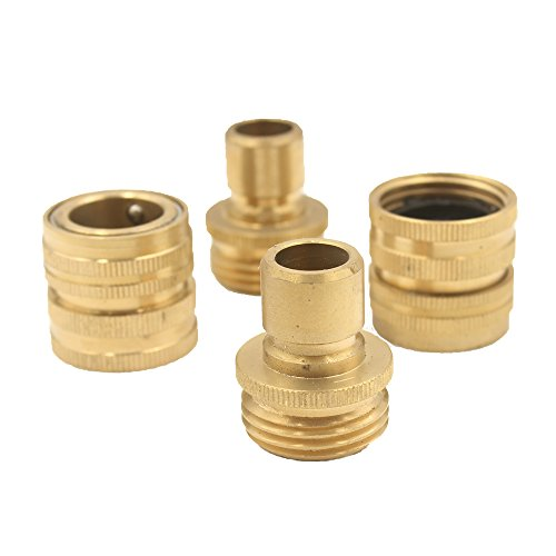 A8001 Pressure Washer Garden Hose Brass Quick Connect Kit 2 Set (2 Male 2 Female) (Pressure Washer Brass Garden Hose)