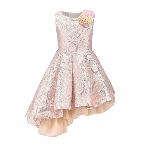 Flower Dobby Girl Party Dresses for Kids Girl Clothes Bevel Hem Dress Pink 7-8 Years Old - Pink Brocade Dress