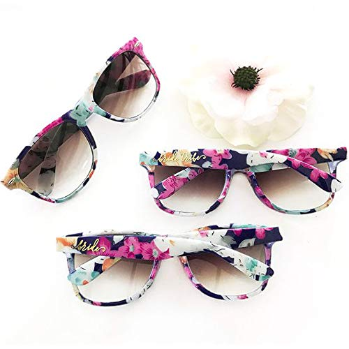 Bride Tribe Sunglasses Floral Pattern Set of 7 | Bachelorette Sunglasses for Bridesmaid Proposal Box & Bridal Shower Decorations Kit | Bachelorette Party Favors & Wedding Bridesmaids Gifts ()