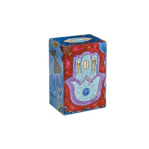 - Yair Emanuel Rectangular Tzedakah Box With Hamsa