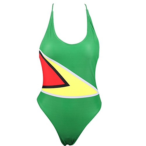 VOARYISA Women's One Piece Caribbean Flag Rasta Monokini Thong Swimsuit Swimwear Bathing Suit (Small/4-6, Guyana)