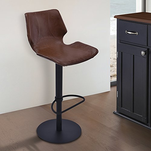 Armen Living LCZUBAVCBL Zuma Swivel Adjustable Barstool in Vintage Coffee Faux Leather and Black Metal (Black Finish Swivel Bar Stools)