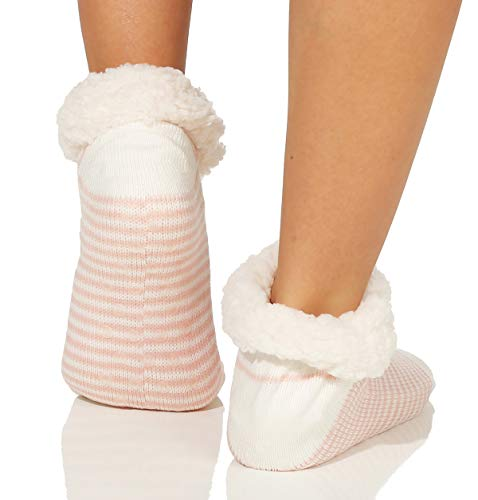 En Teddyfell Rose Chaud Femmes Cleostyle Chaussettes chaussons 37 Semelle Cabines Court Abs Et Avec rayures De Chauds Collection 7xAgAqWawO