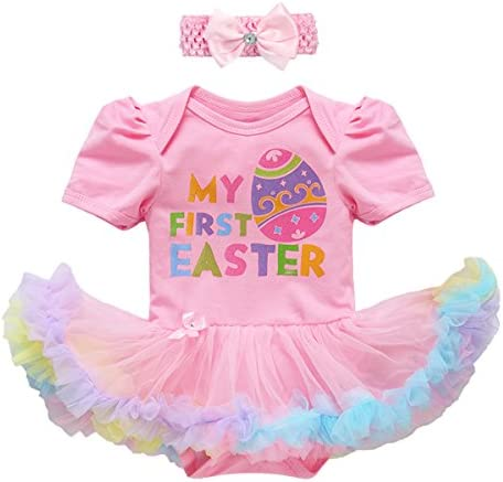Baby Toddler Girl Easter Sunday Outfit Rabbit Tee Shirt Ruffle Skirt Clothes 2PCS Set Playwear Photo Prop