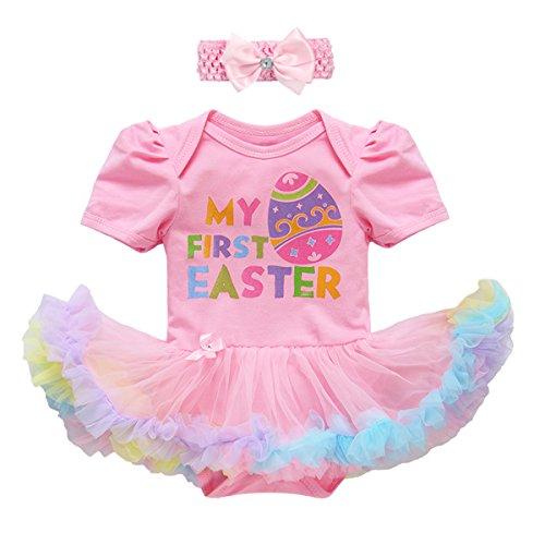 Newborn Baby Girls Cotton 3pcs/4pcs Set My 1st Easter Eggs Rabbit Bunny Romper Tutu Dress Outfits Short Sleeve Birthday Cake Smash Party Bodysuit Jumpsuit Playsuit Bowknot Leg Warmer Shoes Clothes