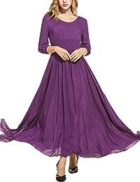 Meaneor Women's Casual O-Neck 3/4 Long Sleeve Vintage Split Maxi Evening Dress