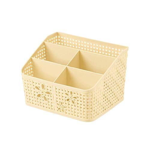 MOPOLIS 5 Grids Plastic Makeup Cosmetic Organizer Holder Desktop Jewelry Storage Box Beige ()