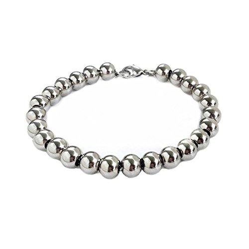 4/6/8/10mm Women Men's Silver Stainless Steel Round Beads Ball Bracelet 7-11 inch (9, stainless-steel-8mm)
