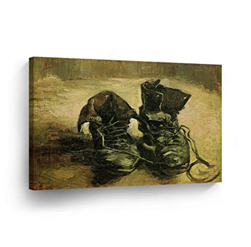 (Vincent Van Gogh A Pair of Shoes 1886 Canvas Print Decorative Art Wall Décor Artwork Wrapped Wood Stretcher Bars - Ready to Hang -%100 Handmade in The USA - 24x36)