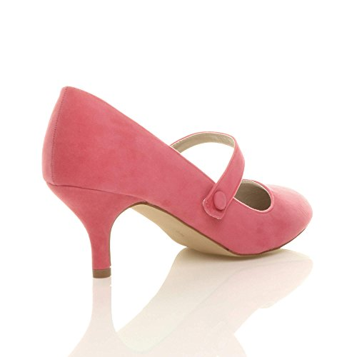 jane Scamosciata festa Donna moda media tacco mary lavoro Corallo taglia di elegante scarpe gwCtq7