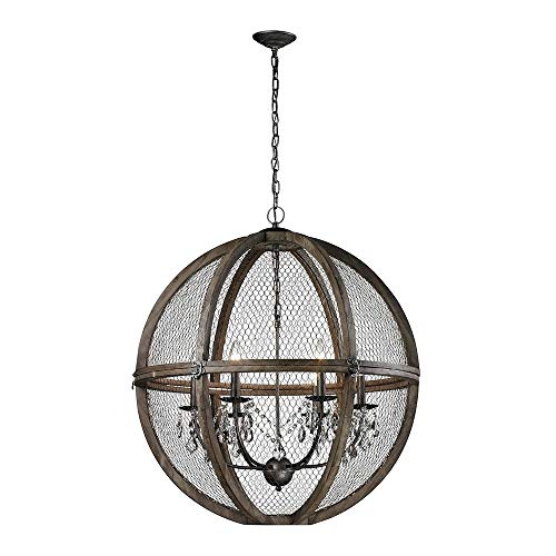 (Dimond Home 140-008 Renaissance Invention - Six Light Large Chandelier, Aged Wood/Bronze Finish with Wire Mesh Shade with Clear Crystal)