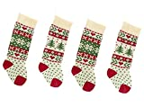 Kurt Adler Red, Ivory And Green Christmas Tree And Snowflake Knit Stockings (4 Pack)