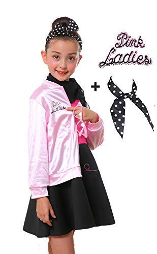 Child 1950s Grease Girl Pink Ladies Jacket Complete Costume with Glasses (L, (Pink Ladies From Grease)