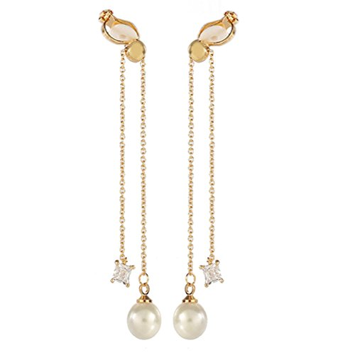 Double Tassel Simulated Pearl Clip on Earring Dangle Clips for non Pierced CZ Zircon Gold-tone ()