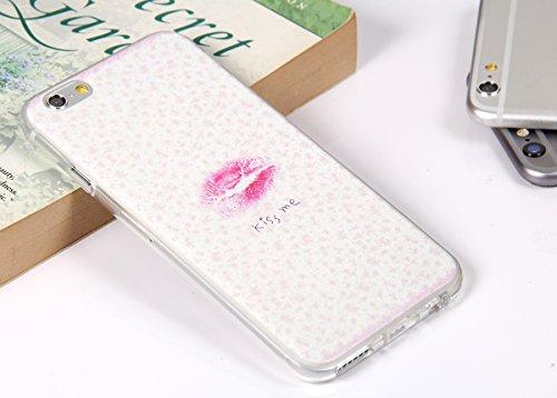 "JewelryWe ""KISS ME"" Sexy Rote Lippen TPU Silikon Handy Case Schutzhülle Tasche Hülle Rückenschutzhülle Etui Schale Cover für Apple iPhone 6(4,7"") Weiss"