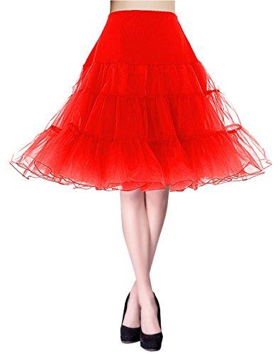 KUONUO Jupon annes 50 vintage en tulle Rockabilly Petticoat Jupe en Tulle Taille Haute longueur 66cm, 4 tailles  choisir Rouge