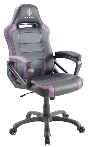 (BLUE SWORD Gaming Chair, Racing Car Style Gaming Chair with Large Bucket Seat, Computer Chair with Tilting and Swivel Function, Leatherette, Purple)