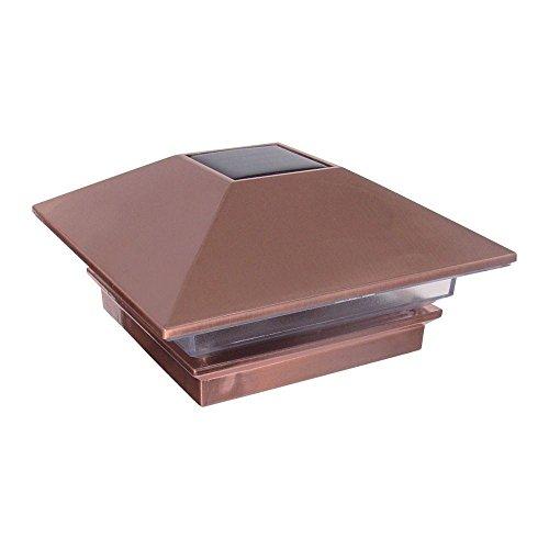 - 4 in. X 4 in. Plastic Copper Finish Solar Powered Square Post Cap