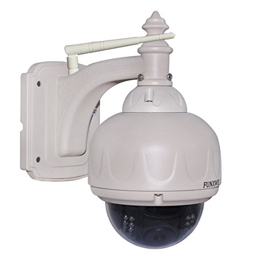 Funxwe 720P HD Wireless WiFi IP Camera Dome Pan Tilt PTZ Security Surveillance Outdoor Waterproof Night Vision Support TF SD Card
