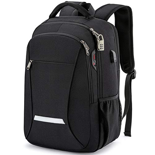 XQXA Backpack for Men,Travel Laptop Backpack with USB Charging/Headphone Port,Durable Water Resistant College School Backpack Laptop Bag for Women Fits 15.6 Inch Computer and Notebook,Black