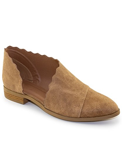 RF ROOM OF FASHION Women's Almond Toe Scalloped Cut Open Shank Slip on Loafers - Western Inspired Stacked Heel Shoes - Vegan Low Heel Flats Camel (9) (Pointy Almond)