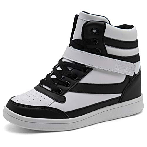 (UBFEN Women's Shoes Hidden Wedges 5.5cm Fashion Sneakers Ankle Boots Bootie Platform Heel High Top Casual Sports Black White 9 B(M) US)