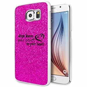 Samsung Galaxy S6 Edge Glitter Bling Hard Case Cover Dogs Leave Paw Prints On Your Heart (Hot Pink)