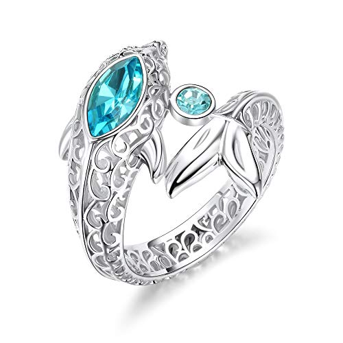(KOAEM Fashion Cocktail Ring Gold Plated Dolphin Filigree Vintage Style Rings for Women and Lady Girls )