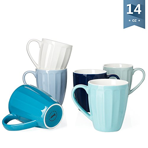Sweese 6210 Porcelain Fluted Mugs - 14 Ounce for Coffee, Tea, Cocoa, Set of 6, Cold Assorted Colors