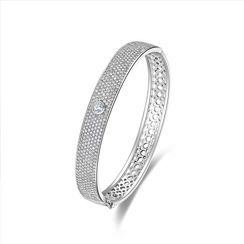 MILATU Bangle Bracelets 3A Cubic Zirconia Paved Platinum-Plated Hollow Bracelet Jewelry Gifts for Women