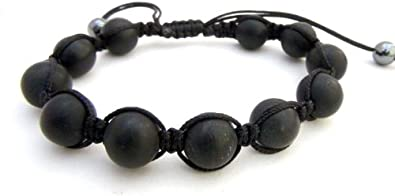 Agathe Creation-Pulsera, diseño de piedra, color negro mate con perlas mate, talla a medida, hecho a mano
