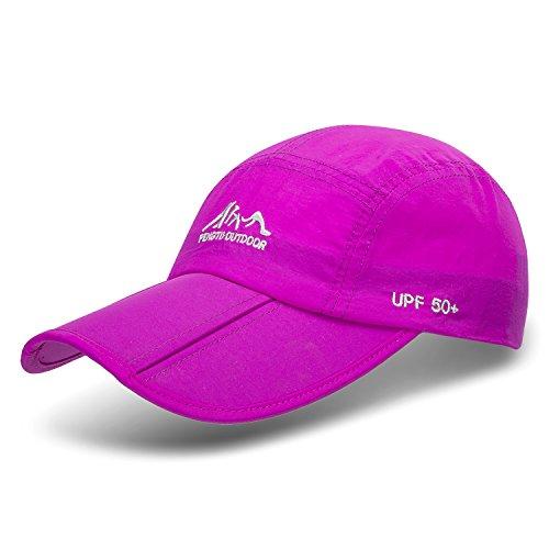 JOSENI Outdoor Quick Dry Sun Hat Folding Portable Unisex UV SPF 50+ Baseball Cap (A1-Purple)