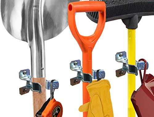 Wood Workshop Outdoor Garden - Heavy Duty Shovel Holder Wall Mount and Garden Tool Hangers for Garage Wall, Broom Clips for Wall and Rake and Shovel Organizer (10 Pack), Hardware Included + 2 Double Hooks for Garden Rake Holde