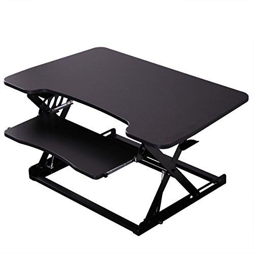 Price comparison product image Tabletop Desktop Standing Desk Adjustable Height Sit to Stand Workstation Black